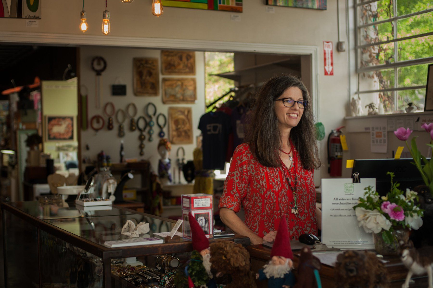 Valerie Wingers stands in the South Main Creative shop in historic SoMa district of Little Rock, Arkansas.