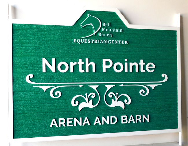 P25128 - Carved HDU Sign for Mountain Ranch Equestrian Center Arena and Barn, With Stylized Art (Horsehead)