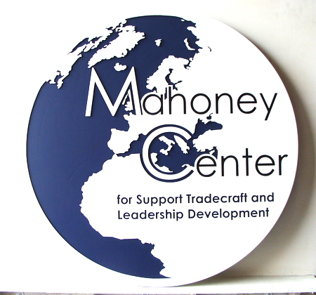 Y34490 - Carved 2.5D HDU (Flat Relief and Engraved)  Wall Plaque of the Seal of Mahoney Center