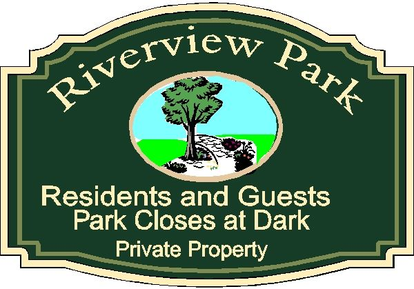 GA16507 - Design of Wood or HDU Sign for Park for Residents Only, Private Property