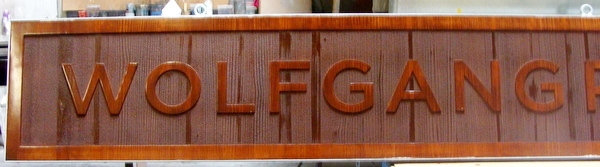 "Q25012 - Carved Wood Sign for a ""Wolfgang Puck"" Restaurant"