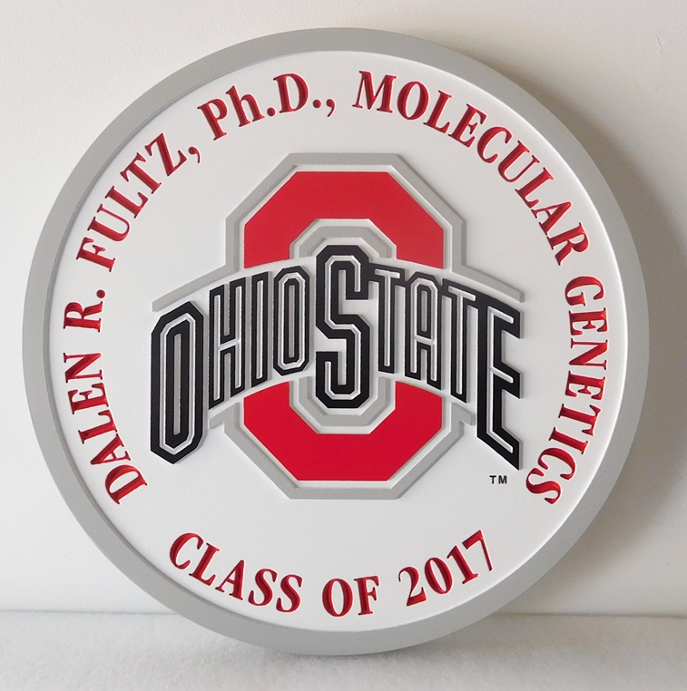 Y34372 -  Carved 2.5D Flat Relief Wall Plaque of the Logo of Ohio State University