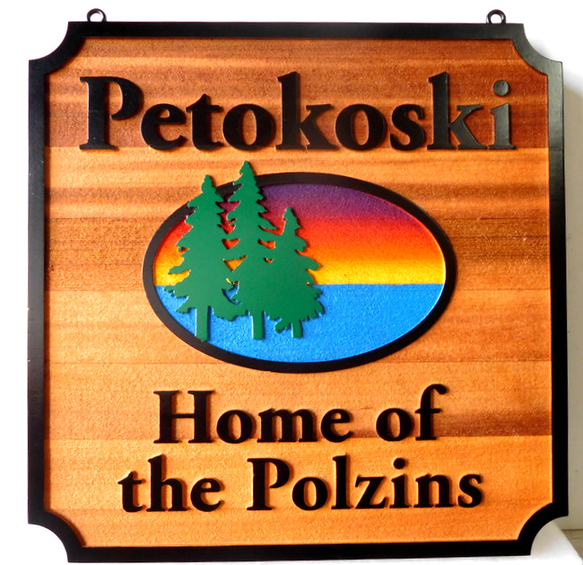 "M22376 -  Carved Cedar Wood Side for Cabin ""Petokoski"", with Lake, Setting Sun and Fir Trees"