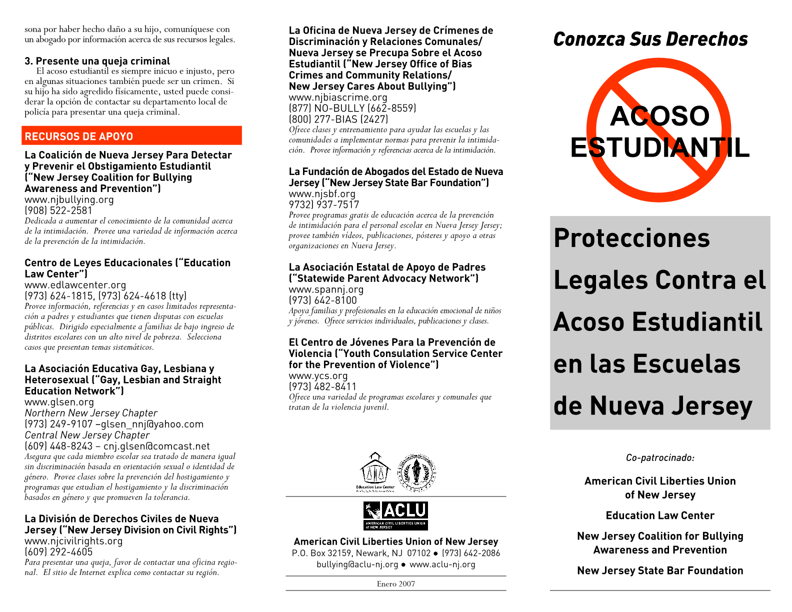 Legal Protections Against Bullying in New Jersey Schools (Spanish) Protecciones Legales Contra el Acoso Estudiantil en las Escuelas de Nueva Jersey