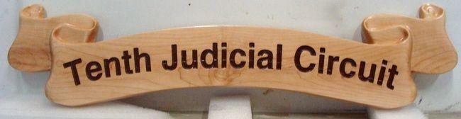 FP-1620 -  Carved Ribbon Plaque of Tenth Judicial  District,  Cedar Wood