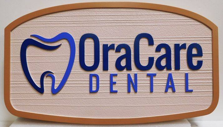 BA11522 - Carved and Sandblasted Wood Grain HDU Sign for the OraCare Dental Office, 2.5-D Artist-Painted