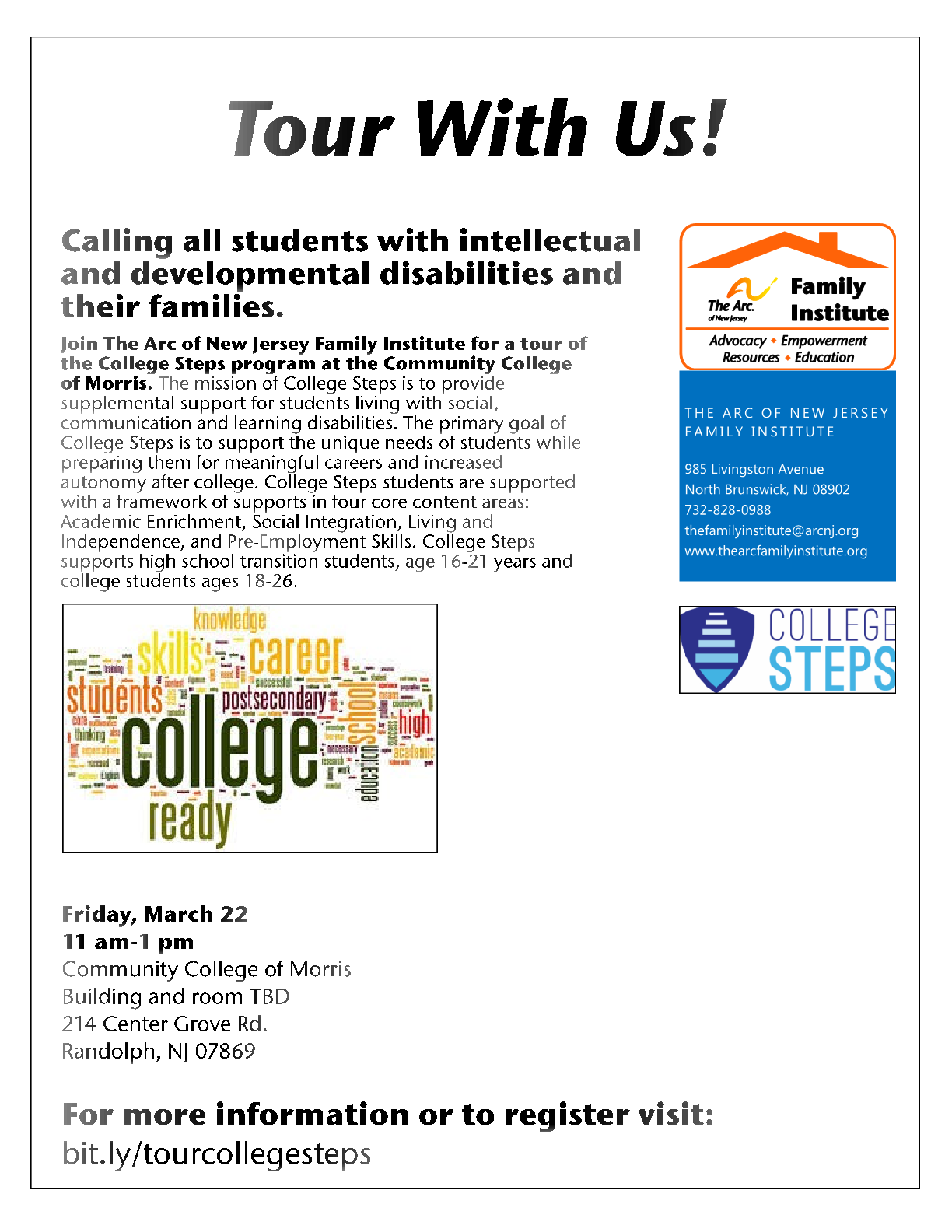Friday, March 22 - College Steps program at the Community College of Morris