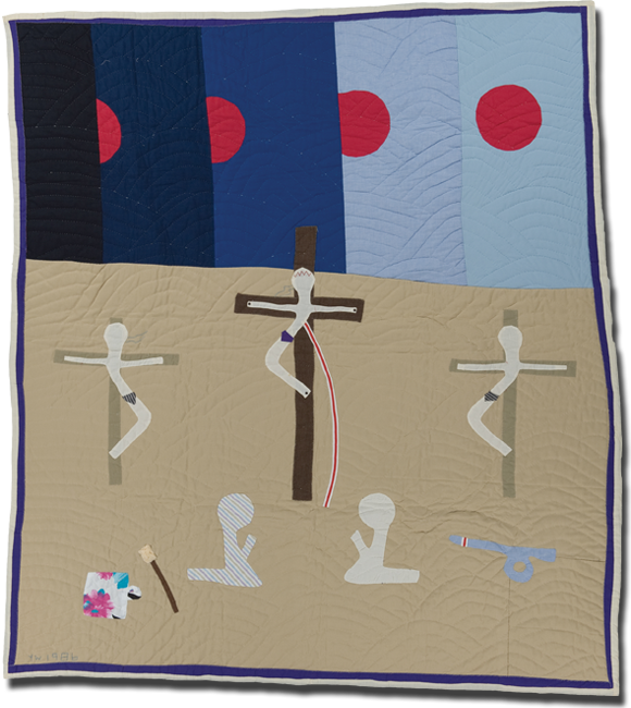 'Crucifixion,' made by Yvonne Wells, dated 1986, 76 x 68 in, IQSCM 2000.004.0139