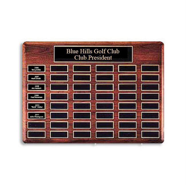 SB1270 - Blue Hills Golf Club  Perpetual Plaque  for Club Presidents,  Carved from African Mahogany
