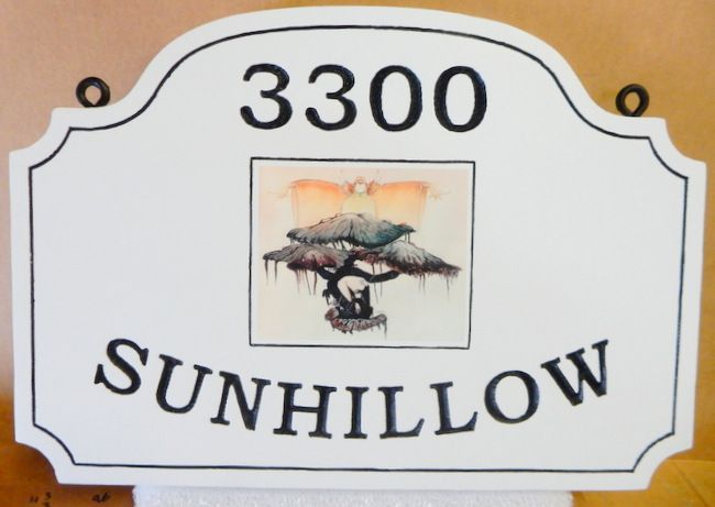 "I18329 - Engraved Residence Address and Name ""Sunhillow"" Sign with Giclée Appliqué"