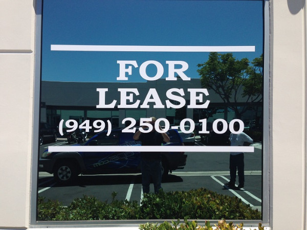 """For Lease"" Window Graphics for Property Managers in Orange County CA"