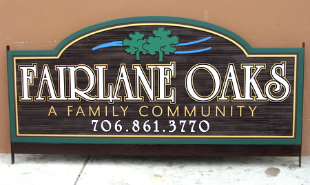 "K20093 -Family Community Wooden Entrance Sign, ""Fairlane Oaks"""