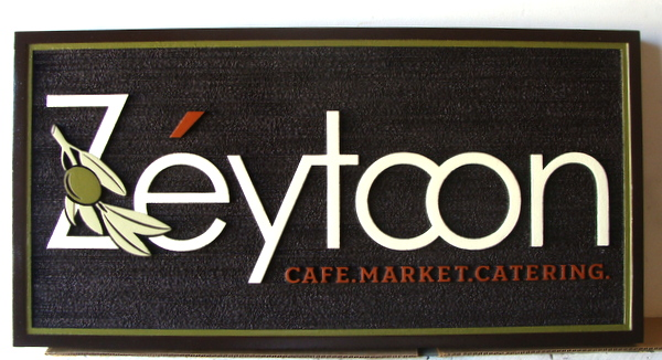 Q25612 - Attractive Carved, Wood Look HDU Cafe, Market, Catering Sign with Carved Olive Branch