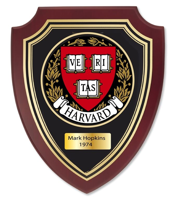 UP1900 - Carved Shield Wall Plaque of  the Seal of Harvard University, Artist Painted on Mahogany Wood, Brass Nameplate