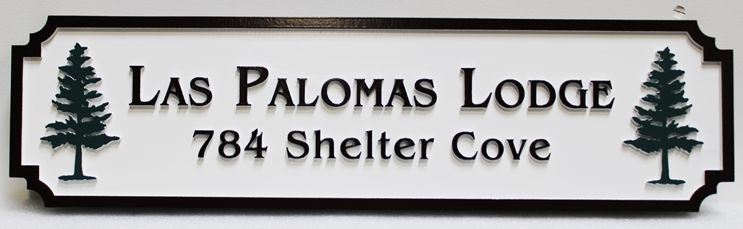 "T29156 - Carved Raised Text ""Las Palomas Lodge "" Address Sign"