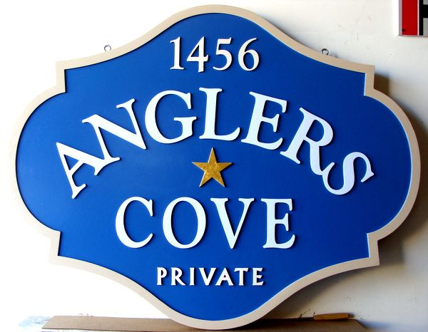 "K20100- Sandblasted, Carved HDU Address Sign for ""Angler's Cove"""