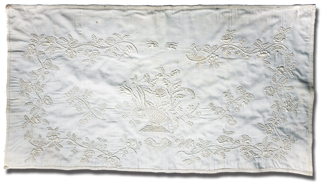 Pillow sham, maker unknown, made in New Haven, Connecticut, United States, dated 1821, 19.25 x 18.5 in, IQSCM 2008.003.0003