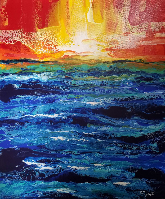 """Where the Sea Meets the Crimson Sky"" - Melanie Burns"
