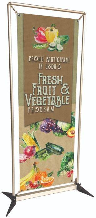 Fresh Fruit & Vegetable program custom banner, banner stand, school banners, easy to setup banner stand