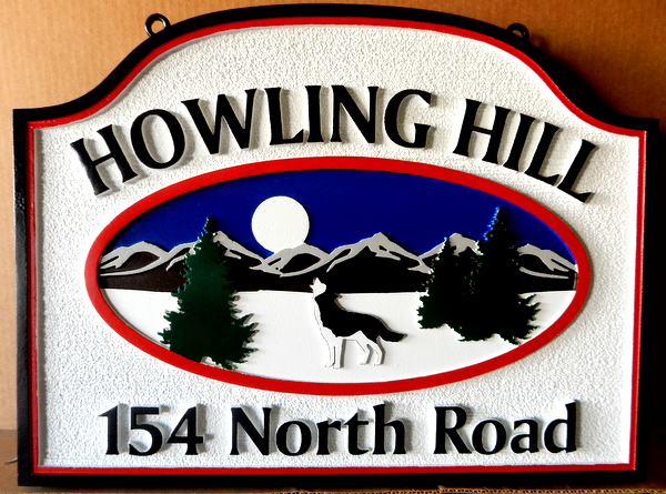 "M22902 - Sandblasted Address Sign ""Howling Hill"" Featuring a  Wolf in a Mountain Scene"