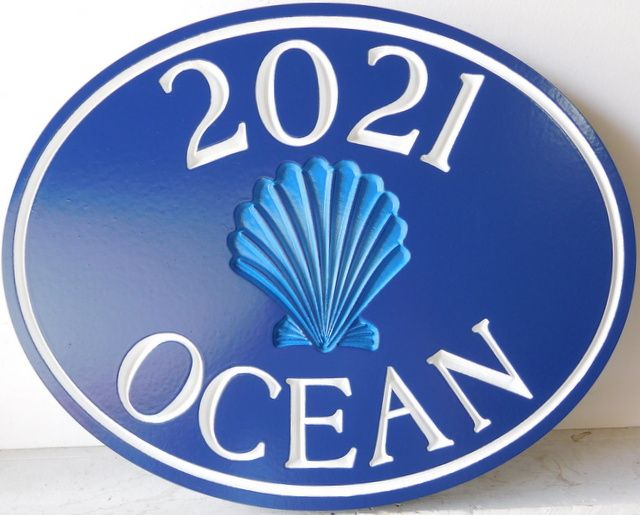 L21540 -- Engraved Coastal Residence Address Sign, with Recessed Seashell