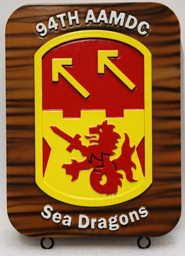 "MP-2285 - Carved 2.5-D HDU Plaque of the Crest of the 94th AAMDC ""Sea Dragons"", US Army"