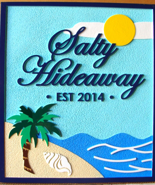 "L21112 - Carved 2.5D HDU Beach House Sign, ""Salty Hideaway"" with Palm Tree and Conch Shell on Beach facing Ocean"