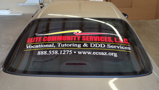 Vehicle vinyl lettering and window perf Gilbert Chandler Tempe