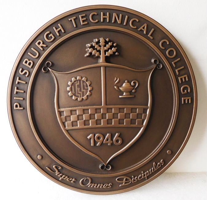 RP-1430- Carved Wall Plaque of  the Seal of the University of Pittsburg Technical College, Bronze Plated