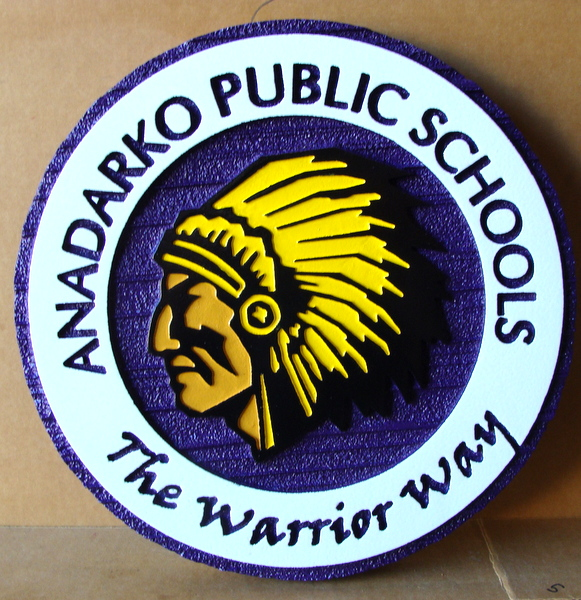 FA15610 -  Carved and Sandblasted Wood Wall Plaque for the Madarko Public School
