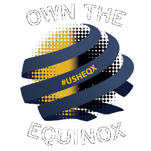 "A logo for the Usher Equinox event that reads ""Own the Equinox"" with the hashtag #usheqx"