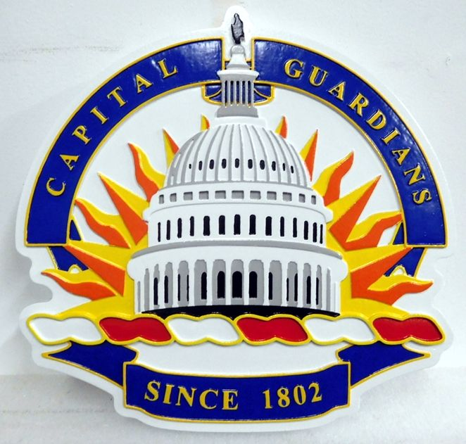 "AP-2110 - Carved Plaque of a Closeup of Seal  of the DC National Guard, ""Capital Guardians """