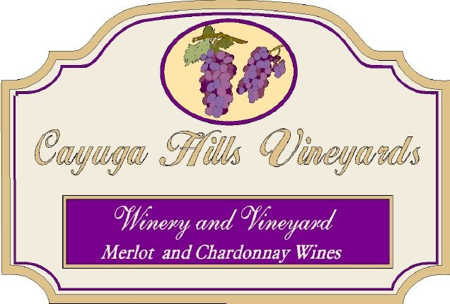 R27079 - Large Elegant Vineyard Carved Wood Entrance Sign, wit 3D Grape Clusters