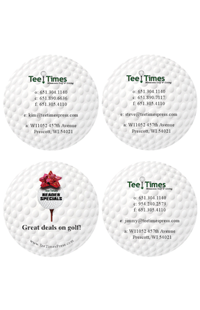 Tee Times Business Card (shape print)