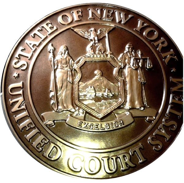 HP-1220 - Carved Plaque of the Seal of the  New York Unified Court System, Bronze Plated