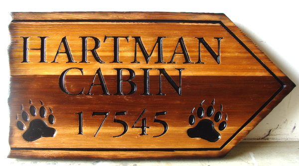 M22880 - Sandblasted and Engraved Cedar Cabin Sign, with Bearpaw Prints