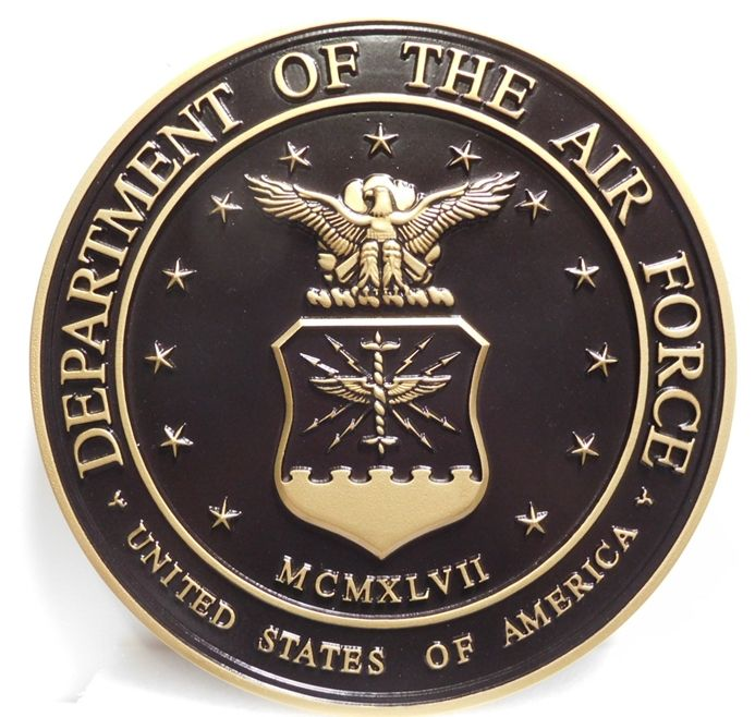LP-1090 - Carved Plaque of the  Seal  of the US Air Force, 3D Painted Metallic Brass and Hand-Rubbed Black