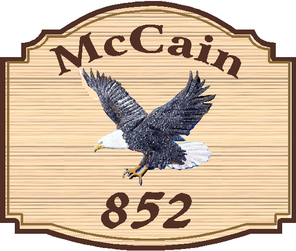 I18512 - Carved 2.5-D Resident Name and Address Sign, with Bald Eagle in Flight, Setting Sun, and Sandblasted Wood Grain Background