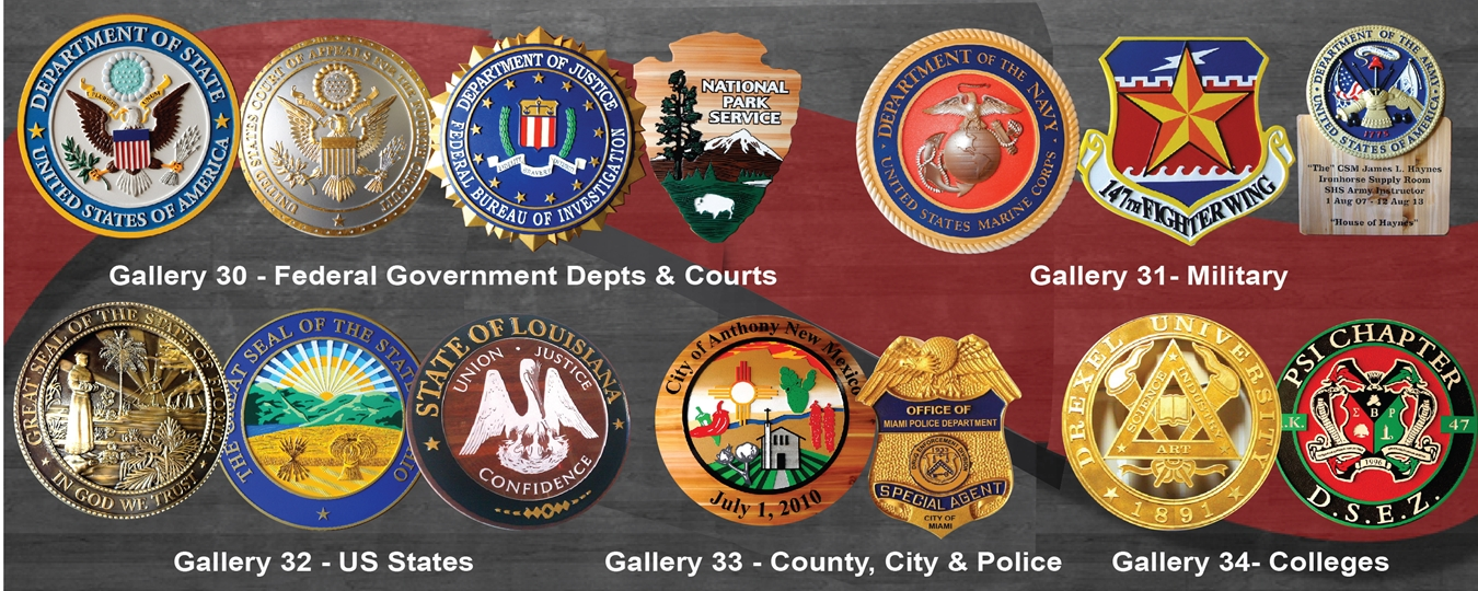 Wall Plaques for Federal, State, County & City Governments, Police, Fire Dept, Colleges and Fraternities