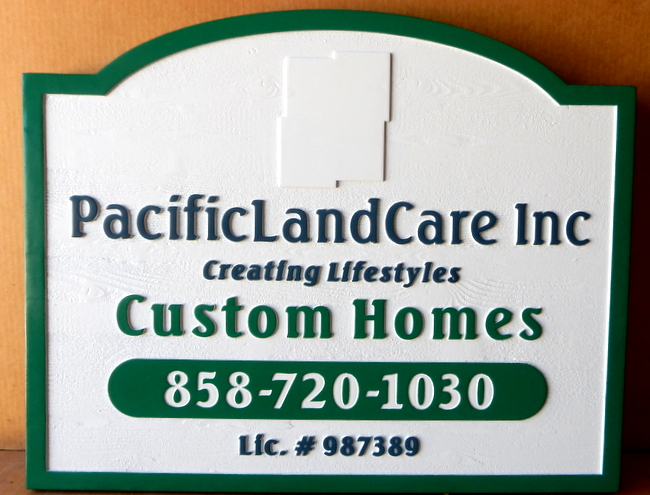 "S28084 - Carved Cedar Wood Sign for ""PacificLandCare""  Custom Home Builder"