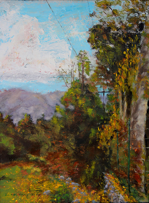 "Descanso Fall, Oil on canvas, 24"" x 18"""