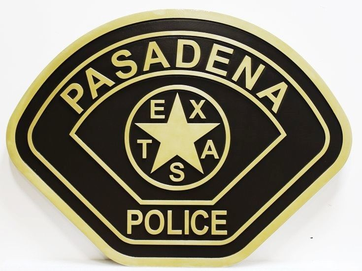 PP-2415 - Carved 2.5-D Raised Relief Wall Plaque of the Shoulder Patch of the Police Department of Pasadena, Texas