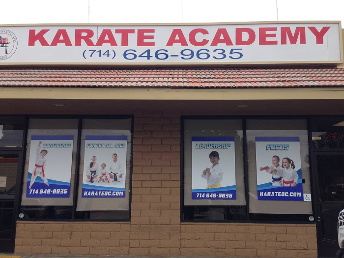 Window graphics for karate schools in Placentia CA
