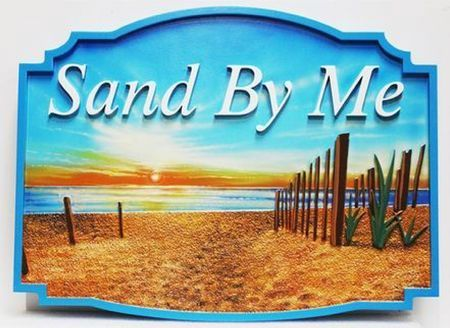 "L21045 - Carved Artist-Painted HDU Seashore Property Name Sign ""Sand by Me', with Sunset Over the Ocean and Sand and Fence as Artwork"