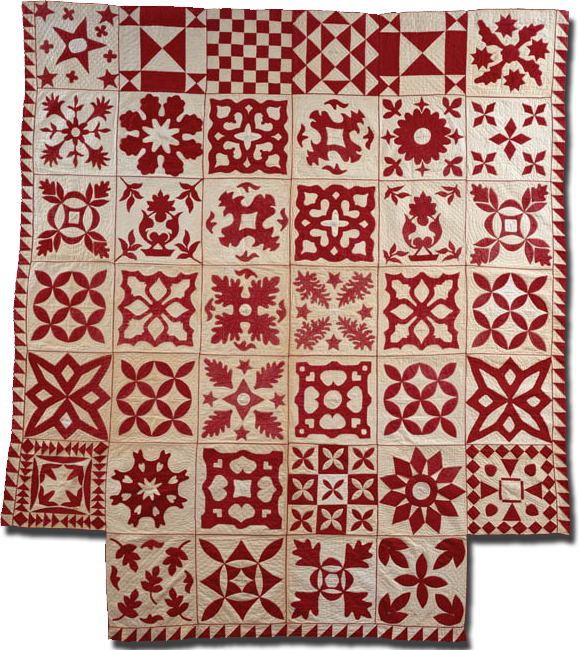 Signature Album quilt, made in Boston, Massachusetts, United States, dated 1850-1851, 93 x 83 in, IQSCM 1997.007.0859