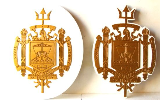 JP-2363 - Carved  Plaques of Seal of US Naval Academy, Annapolis, Painted Gold and Bronze Metallic