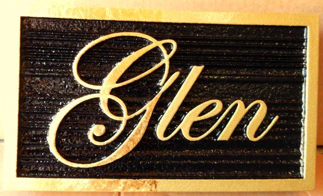 I18120 - Elegant  Property Name Sign with 24K Gold-Gilded Letters and Sandblasted Wood Grain Black Background