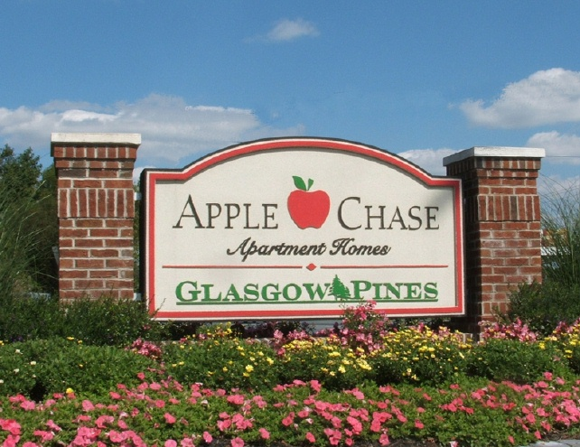 K20028  - EPS Monument Sign for Apartment Homes, Real Brick Sign Pillars, Carved Apple