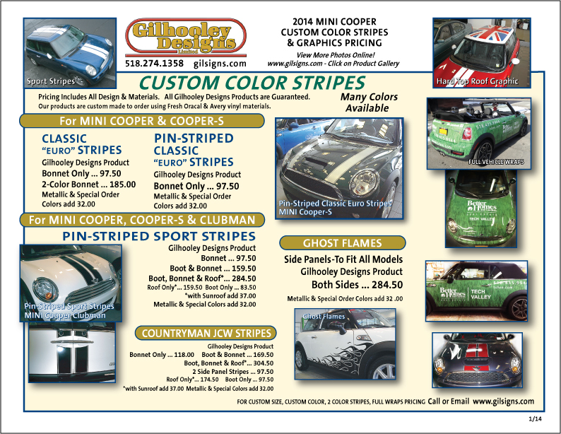 MINI Stripe Price Sheet