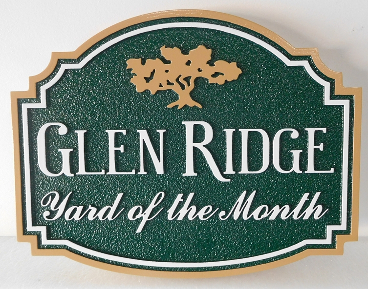 "KA20933- Carved ""Glen Ridge"" HOA Yard-of-the-Month Sign, with Stylized Logo of an Oak Tree"